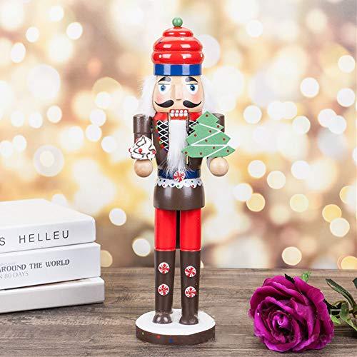 GerFogoo - Pupazzo di noce, in legno, con stampa colorata, per albero di Natale, in legno, schiaccianoci