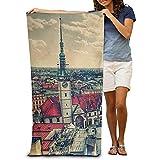Asciugamani da Spiaggia in Cotone 100% Asciugamano ad Asciugatura Rapida 80x130 cm per nuotatori Coperta da Spiaggia Square di Praga