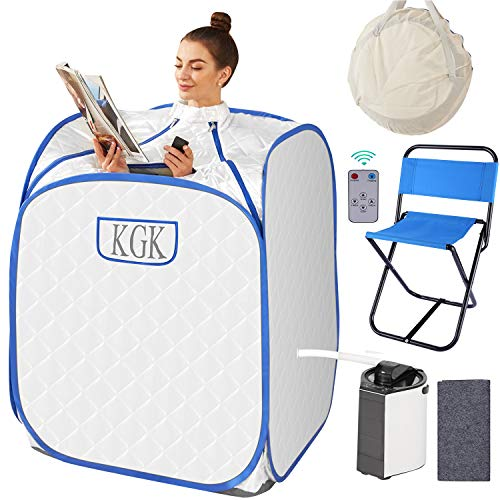 KGK Portable Steam Sauna Spa, 3L Personal Therapeutic Sauna for Weight Loss Detox Relaxation, Home Sauna Spa Set with Steam Pot,Remote Control, Foldable Chair,Carrying Bag,fogger Function(White)