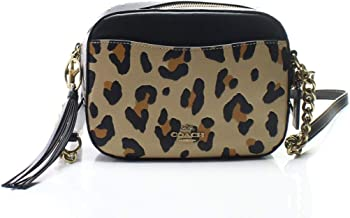 COACH Womens Leopard Print Blocked with Rivets Camera Bag