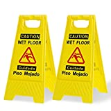 Caution Wet Floor Sign 2 Pack,Yellow,Bilingual Warning Signs,for Commercial Use,a Collapsible Sign to a Potential Hazard.