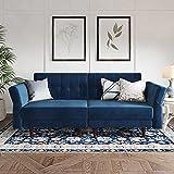 Belffin Velvet Convertible Futon Sofa Bed Memory Foam Futon Couch Sleeper Sofa Blue