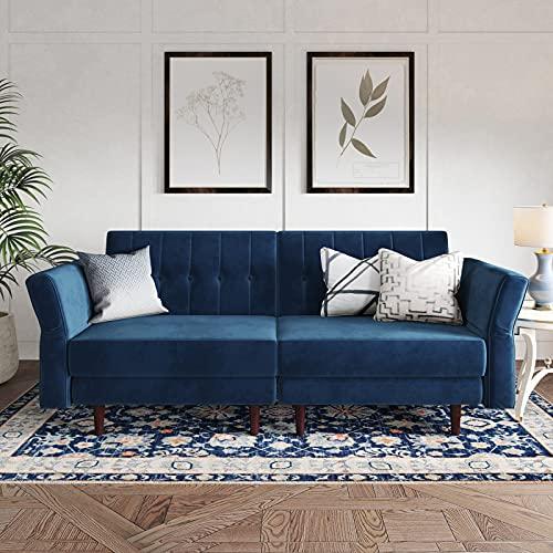 Belffin Velvet Convertible Futon Sofa Bed Memory Foam Futon Couch Sleeper...