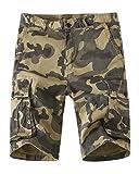 Meerway Hombre Bermudas Pantalones Cortos Camuflaje de Cargo del Estilo Bolsillo múltiple Vintage Pantalones Cortos de Trabajo Verano Amarillo 38