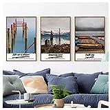 ショット海辺山風景キャンバスアート絵画プリントポスター画像壁リビングルームベッドルーム家の装飾壁画-40X60Cmx3ピースフレームレス