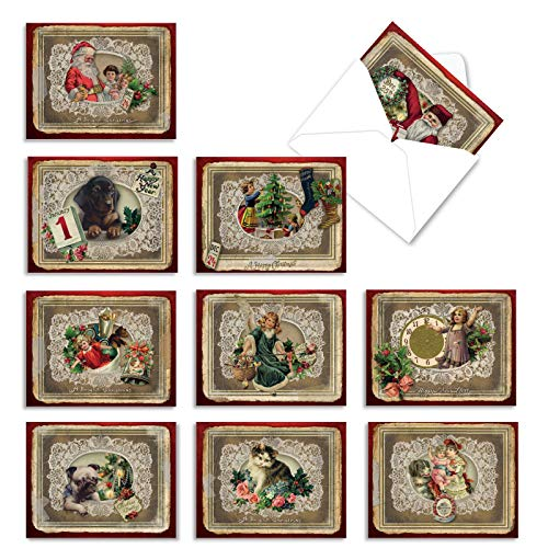 The Best Card Company - 10 Retro Merry Christmas Cards Bulk - Vintage Holiday Notecards with Envelopes (4 x 5.12 Inch) - Lacy Holidays M1760XS
