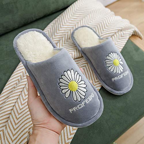 Nwarmsouth Zapatillas de Paseo para Hombre,Zapatos de Felpa de algodón con Suela Blanda, Pantuflas Acolchadas Antideslizantes-Gris_38-39,Zapatillas de casa de Invierno para Mujer para Hombre