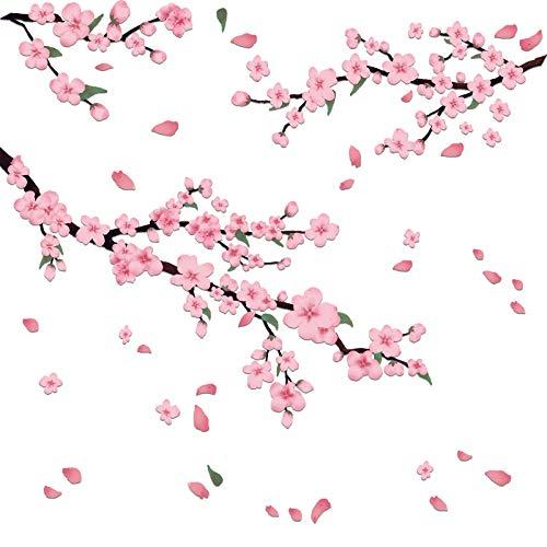 2 Pezzi Adesivi Murali Fiori di Pesco Decalcomanie della Parete del Ramo di un Albero di Fiori Murale Artistico Romantico Fiore Rosa per Decorazione Camere da Letto Soggiorno Cucina