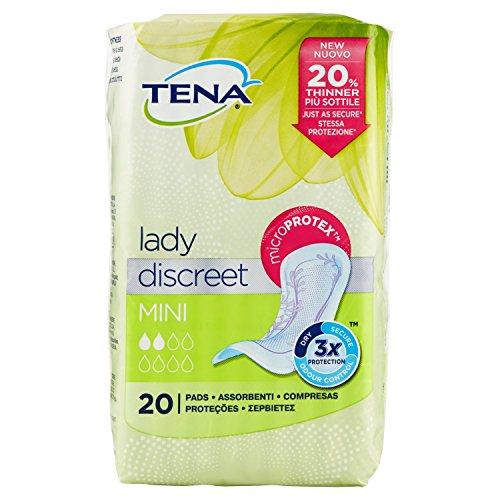 TENA DISCREET MINI Paquete de 20 Compresas Incontinencia mujer, transpirables, hipoalergénicas, discretas, suaves, cómodas para las pérdida de orina, la incontinencia, probado dermatológicamente
