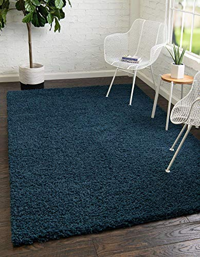 Unique Loom Solo Solid Shag Collection Modern Plush Navy Blue Area Rug (6' 0 x 9' 0)