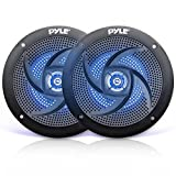 Waterproof Rated Marine Speakers - 4'' 2 Way Off-Road Vehicles & Weather Resistant Outdoor Audio Stereo Sound System w/ LED Lights, 100W Power, & Low Profile Slim Style, Pair, Black- Pyle PLMRS43BL