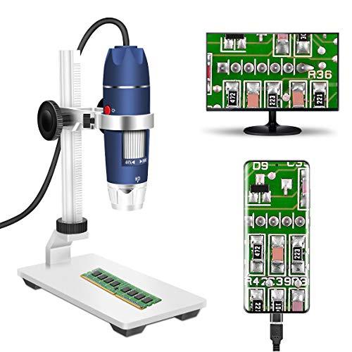 Microscopio digitale USB camera, Jiusion 40-1000X portatile ingrandimento endoscopio 8 LED con caricabatteria professionale supporto, compatibile con Mac Windows XP 7 8 10 OTG Android Linux