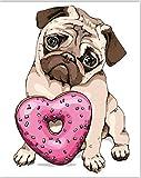FVNR DIY pintura por números para adultos DIY Lienzo Set de arte de pared para regalo lindo perro mejora la capacidad práctica 16 x 20 pulgadas sin marco