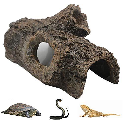 Aquarium Hollow Tree Trunk Ornament,Fish Tank Driftwood Resin Crafts Ornament Fish Hideout Hideaway for Betta, Small Lizards, Turtles, Reptiles, Amphibians