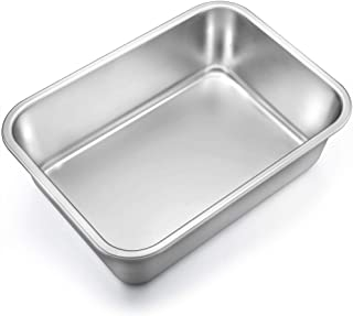 TeamFar Lasagna Pan, Rectangular Cake Pan Brownie Bake Dish Stainless Steel, 13''×10''×3.25'', Heavy Duty & Healthy, Deep Side & Brushed Surface, Easy Clean & Dishwasher safe