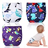 3 Pieces Reusable Baby Cloth Diapers Cute Waterproof Cloth Diaper Covers One Size Adjustable Washable Pocket Diapers with Snap Button for Baby Boys Girls (Novel Pattern)