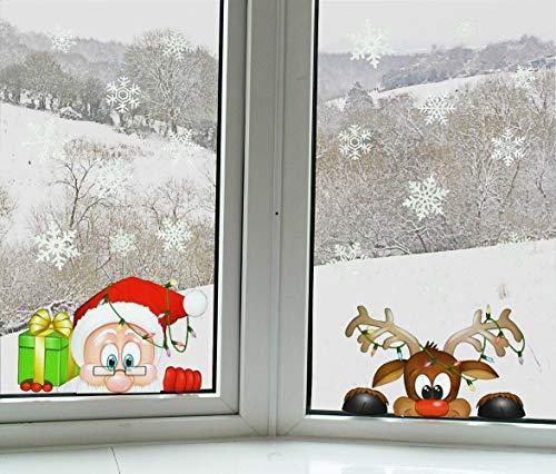 YULOONG Weihnachten Windows Aufkleber Weihnachtsmann Rentier Schneeflocke Abnehmbare Vinyl Weihnachtsbaum DIY Wand Fenster Tür Wandtattoo Aufkleber für Schaufenster 4 PCS