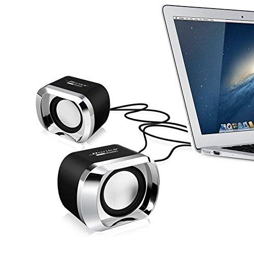 Computer Speaker BeBomBasics SP20 USB Powered Multimedia Small Desktop Speaker with Stereo Sound for Laptops and PC or TV,3.5mm Black