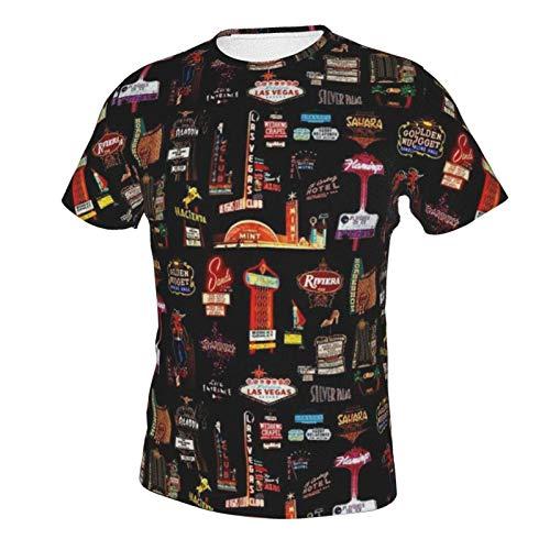 Mens Short Sleeve Crew Neck T-Shirts Lightweight Comfort Workwear Top Las Vegas Skyline XL