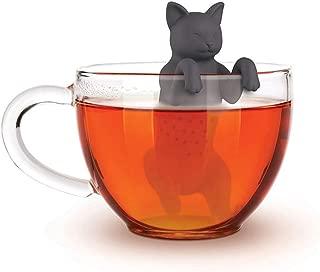Leikance colador de té, infusor de té para gatos, de silicona de grado alimenticio, filtro de té para perro 11 * 4.5 * 7cm gris