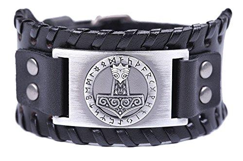 Fishhook Viking Thor Martillo 24 Amulet Runes Talisman Sprial Brazalete de cuero