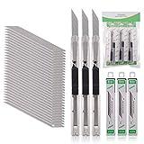 FOSHIO 3 Stück Cuttermesser 9mm mit 30 pcs 30° Abbrechklingen, Cuttermesser Profi, Cutter klingen für Folien, Papier, Basteln & Tapete, Cuttermesser Klein
