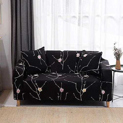 Funda Elástica de Sofá Cubre Antideslizante/Protector Ajustables de Sofá, Decorativas Fundas Ciruela Negra Impresa -para Sofas, con Cuerda de Fijación (4 Plazas:225-290cm)+1 Fundas de Almohada
