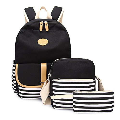 Lightweight Canvas Backpack Fashion School Bag Outdoor Travel Laptop Backpacks (A Black Set)