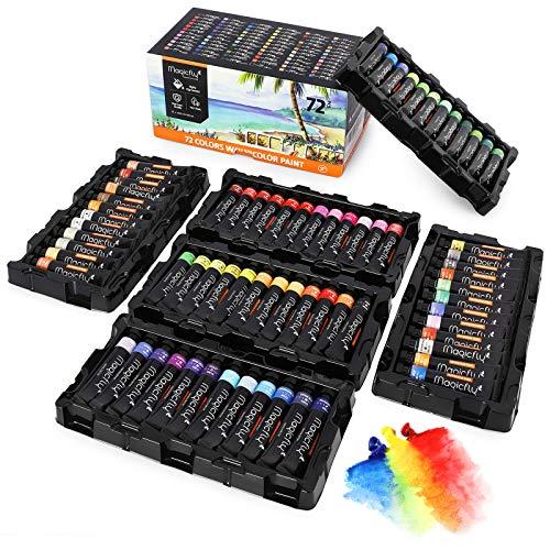 Magicfly Aquarellfarben Tuben , 72 Wasserfarben-Set in 12ml Tuben, Aquarell Farbset mit Lagerung Box, Malfarbe Ideal für Anfänger, Künstler, Hobby-Maler
