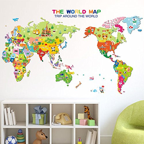 ufengke home Colourful World Map Wall Art Stickers With Cartoon Animals, Flags & Popular Symbols Decorative Removable DIY Vinyl Wall Decals Nursery Room, Children's Bedroom, Kid's Playroom Mural