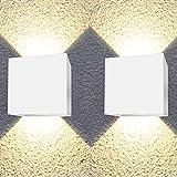 Aplique pared exterior 12W impermeable IP65 luz blanca calida 3000K lampara exterior pared apliques pared exterior luz exterior pared Clase eficiencia energetica A++ blanco (2 Uds)