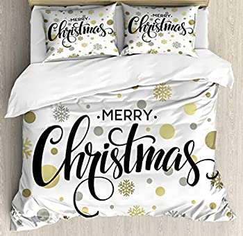 Ambesonne Christmas Duvet Cover Set Merry Christmas Lettering on an Abstract Modern Snowflake Dot Pattern Decorative 3 Piece Bedding Set with 2 Pillow Shams King Size Black Beige