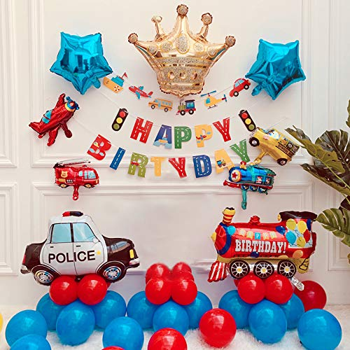 Hontex Birthday Boy Decorations,Construction Birthday Party Supplies School Bus Fire Truck Police Vehicles Balloons for Kids Party Baby Shower 52 pack