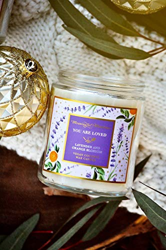 Premium Hand Poured Scented Essential Oil Candles | Lavender and Orange Blossom | 34 Hour Burn, Long Lasting, Highly Scented, All Natural Coconut Wax, NO Synthetic Fragrance | Aromatherapy Candles