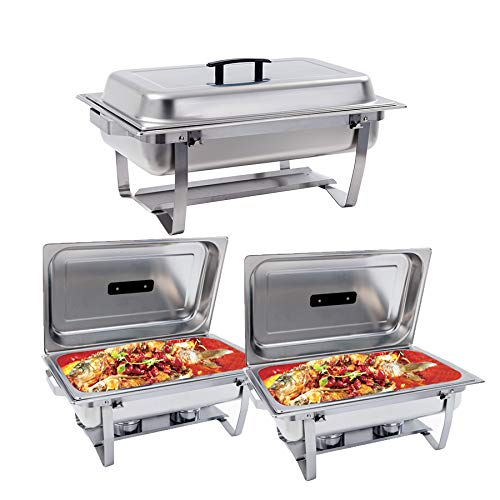 SUNCOO 8 Quart Chafing Dish Stainless Steel Chafer Dish Full Size Chafers and Buffet Warmers Rectangular Chafers W/Water Pan Food Pan Fuel Holder and Lid for Parties with Folding Frame (3 Packs)