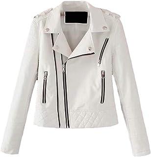 FSSE Women Zip Up Fashion Slim Lapel Pu Leather Moto Biker Jacket Coat