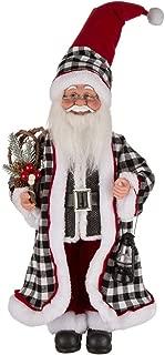 Glitzhome Handmade Black & White Plaid Santa Claus Figure Christmas Decoration Ornaments Holiday Decor 18.11