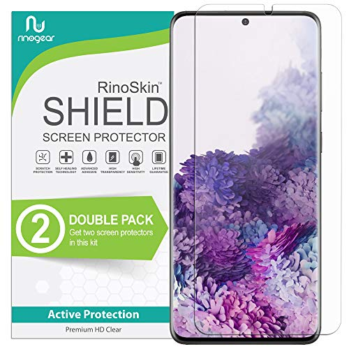 (2-Pack) RinoGear Screen Protector for Samsung Galaxy S20 Plus (Fingerprint ID Compatible) Case Friendly Galaxy S20 Plus Screen Protector Accessory Full Coverage Clear Film