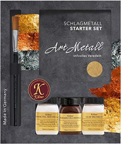 Kölner Schlagmetall Starter Set Art Metall - Mittelgold 2,5 zum Vergolden in hochwertiger Verpackung