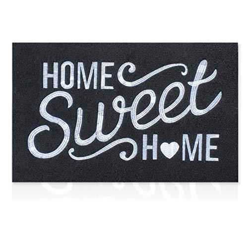 Schwarze Fußmatte für den Außenbereich mit rutschfester Gummi-Rückseite, Stickerei, Weberei, Heim, Zuhause, Innenfußmatte, absorbiert Schlamm, stark frequentierte Bereiche, Eingangsmatten für Haustür.