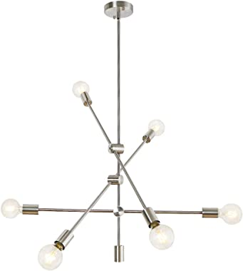 LynPon Sputnik Chandelier 6 Lights Modern Ceiling Light Fixture Brushed Nickel Industrial Vintage Pendant Lighting for Dining