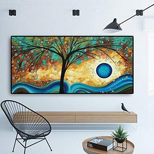 Lienzo moderno con impresión de pintura abstracta de árbol, puesta del sol, impresión escandinava, decoración de pared, 70 x 140 cm, sin marco