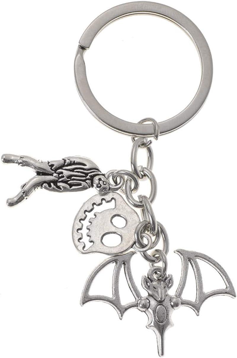 ABOOFAN 2Pcs Halloween Keychains Metal Bat Design Keyrings Key Chains for Car Key Bag Phone