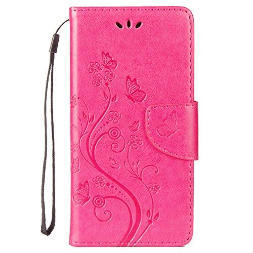 LEMORRY Hülle für Wiko U Feel Lite Hülle Tasche Ledertasche Flip Beutel Schutz Magnetisch Schließung Stehening SchutzHülle Weich Silikon Cover Schale für Wiko U Feel Lite, Glückliche Gras Pink