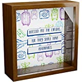 Travel Lover Gift | 6x6x2 Memorabilia Shadow Box for World Travelers | Unique Wooden Keepsake for Adventure & Exploration Lovers | Travel Fund Bank for Men & Women | Wall and Desk Decorations for Home