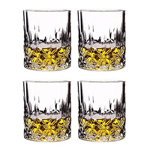 BarSoul - Juego de vasos de whisky tallados (4 unidades)