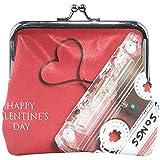 Valentine 's Day Cinta de Cassette Monedero Monederos Monedero Vintage Moda PU Cuero Tarjeta de Dinero Portatarjetas para Mujeres Niñas Adolescentes