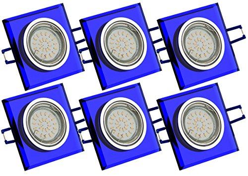 Trango Juego de 6 focos LED empotrables TG6736S-06B de cristal azul y aluminio, incluye 6 bombillas LED GU10