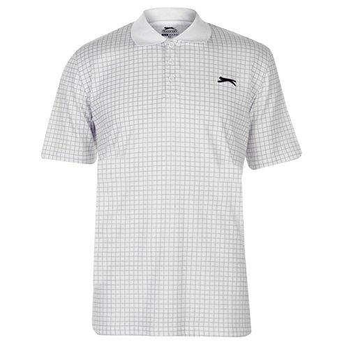 Slazenger Herren Golf Polo Shirt Kariert Kurzarm Weiß 3XL