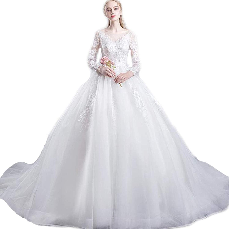 Bride Wedding Dress Word Shoulder Noble Tail Dreamy Simple Slim Long Sleeve Wedding Bridesmaid Dinner Dress White (color   White, Size   XXL)